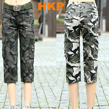 Summer womens girls Ladies outdoor sport Military camouflage capris cargo pants
