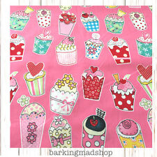 Cotton fabric Pink material Cupcake 140cm extra wide fat quarter metre crafting