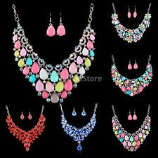 MagiDeal Fashion Women wedding Bridal Rainbow Alloy Necklace Earring Jewelry Set