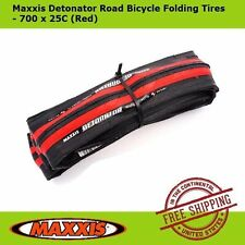 Maxxis Detonator 700 x 25C Road Racing Bike Bicycle Folding Tire Tyre Red