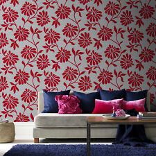 Barbara Hulanicki Ophelia Floral Red/Grey Real Flock Wallpaper Was £55 Now £25