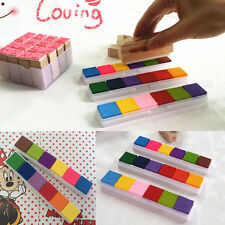 Rainbow 6Color DIY Craft Ink Pad Oil Based Print Rubber Stamp Paper Wood Durable