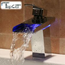 TAPCET LED Color Changing Bathroom Sink Waterfall Faucet Single Handle Mixer Tap