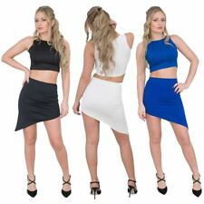 Womens Ladies Asymetric Cut Mini Skirt Elasticated Waist Jolie Max Summer Skirt