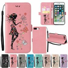Painting Girl Flip Leather Strap Stand Case Cover For iPhone 5 5S 6 6S 7 Plus SE