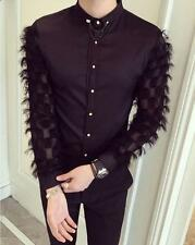 Mens Slim Fit Button Down Dress Unique Fluffy Checked Long Sleeve T Shirt Tops Y