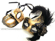 Feather Masquerade mask Pair for Couple Halloween Costume Graduation Dance Party