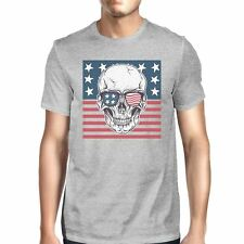 Skull American Flag Shirt Mens Gray Round Neck Tee Gifts For Dad
