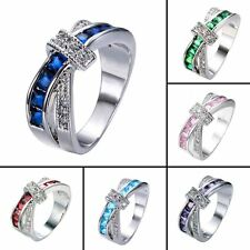 Silver Women's Cross Rings Diamond Fashion Jewelry Wedding Engagement Ring Band