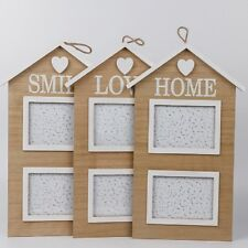 Rustic Sweet House Wood Double Family Photo Frames Wall Hanging Picture Holder