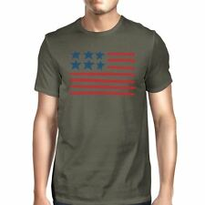 USA Flag Mens Gray Crewneck Graphic Tee Unique 4th Of July T-Shirt