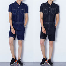 Hot Men's Casual Short Sleeve Jumpsuits Short Trouser Pant Rompers Slim Straight