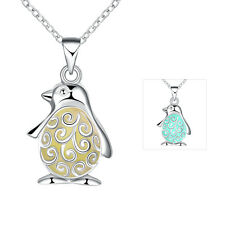 Silver plated Hollow Out Lovely Penguin Shaped Pendant Luminous Necklace Jewelry