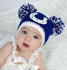 Crocheted INDIANAPOLIS COLTS Hat Cap beanie baby girl boy ears or pom poms