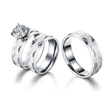 Stainless Steel Zirconia Couples Ring His and Her Wedding Engagement Rings Set