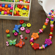 Multicolor Wooden Beads DIY Jewelry Necklaces Bracelets Making Handcraft Charm