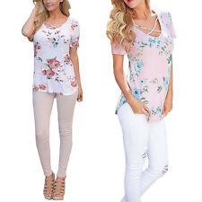 Floral Casual New Short Sleeve V-Neck T-Shirts Women Printed Summer