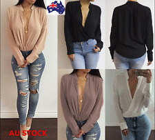 Women Casual Deep V-Neck Loose Chiffon Long Sleeve Shirt Blouse Slim Fit Tops