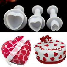 3 Heart Decorating Sugercraft Tool Mould Cutter/Cake Decorator Smoother Polisher