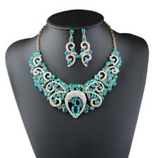 Women Prom Dangle Earring Statement Necklace Rhinestone Crystal Jewelry Set
