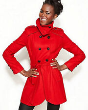 Guess Womens curved hem Wool Double Breasted Trench Coat Red  пальто OBO