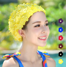 Luxury Floral Woman Bathing Shower Swimming Cap Cap Petal Swim Flowers Bead Hat
