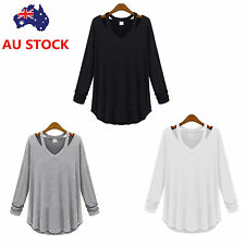 Women Off Shoulder V Neck Blouse Ladies Long Sleeve Loose Casual Shirt Tops Tee