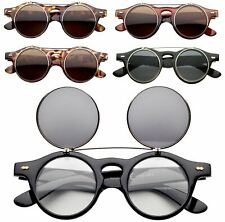 Vintage Retro Steampunk Frame Costume Round Circle Flip Up Clear Lens Glasses