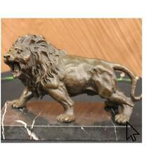 Angry Hungry Male Lion Art Decor Bronze Sculpture Statue FigurineBM