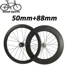 50+88mm Clincher Carbon Wheels Road Bicycle Road Bike Track Fixed Gear Wheelset