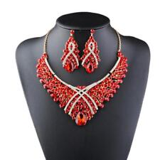 Crystal Rhinestone Large Pendant Statement Necklace Earrings Set For Women