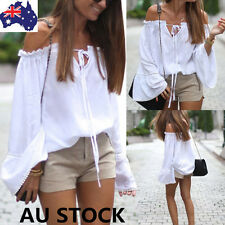 Women Off Shoulder Tops Ladies Long Sleeve Ruffle Shirt Front Lace Up Blouse Tee