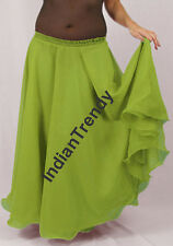 Yellow Green - 2 Layer Reversible Skirt Belly Dance Gypsy 9 Yd Fulll Circle Jupe