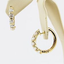 14k Gold Channel Bar Set Round Brilliant Diamond Hoops Earrings Hinged 5 Stone
