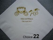 100 Personalised Wedding Napkins 2 NEW designs