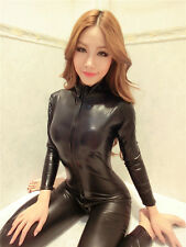Latex Jumpsuit Catsuit Front Zipper Sexy Elastic Black PU Bodysuit Slim Dancing