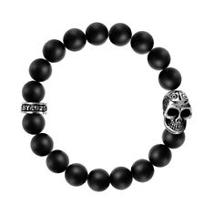 King Baby 10mm Onyx Bead Bracelet w/Day of the Dead Skull  K40-5282