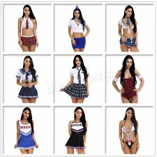 Sexy Women's School Girl Uniform Cosplay Halloween Lingerie Fancy Dress Costume