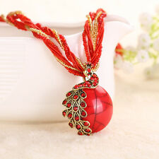 1* Bohemian Peacock Gem Vintage Jewelry Crystal Multilayer Bead Chain Necklace