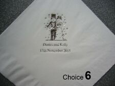 50 Personalised Wedding Napkins various Designs, Napkin and Print colours