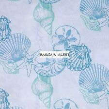 BEACH SEASHELLS STARFISH OCEAN KING QUEEN FULL SHEET SETS BLUE WHITE NIP