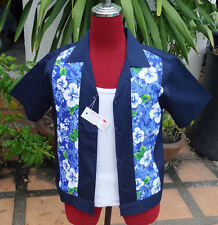 Handmade 1950's Style Retro Mens Rockabilly Bowling Shirt Dark Hawaiian Print