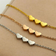 1Pcs Pendant Stainless steel Women Necklace Jewelry Charms Three Heart Fashion