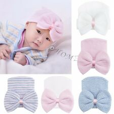 Cute Newborn Baby Infant Girl Toddler Bowknot Hospital Cap Beanie Hat Photo Prop