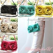 Rose Leather Makeup Pencil Cell Phone Pouch Small Shoulder Cross-body Bag Purse