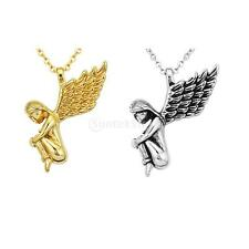 Stainless Steel Angel Wings Pendant Necklace Guardian Charms Women Girl Jewelry
