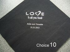 150 Personalised Wedding Napkins 10 designs  12 colours
