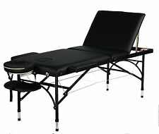 "4"" Portable Aluminum 3Fold Massage Table Facial Bed Table with accessories"