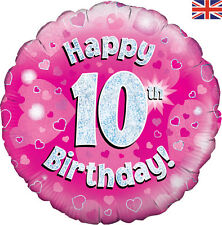 "10th Birthday Balloon with Happy Printed Pink Foil Holographic Heart 18"" Balloon"