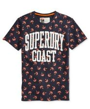 NEW MENS SUPERDRY PITCH NAVY BLUE PALM PRINT COAST GRAPHIC TEE T-SHIRT